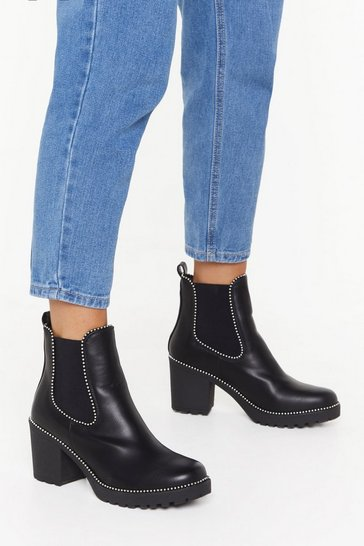 Black Block the Haters Faux Leather Studded Boots