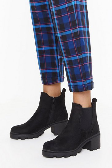 Womens Black On the Block Heel Chelsea Boots