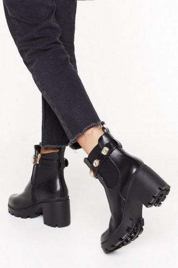 Womens Black Jewel to be Kind Faux Leather Block Heel Boots