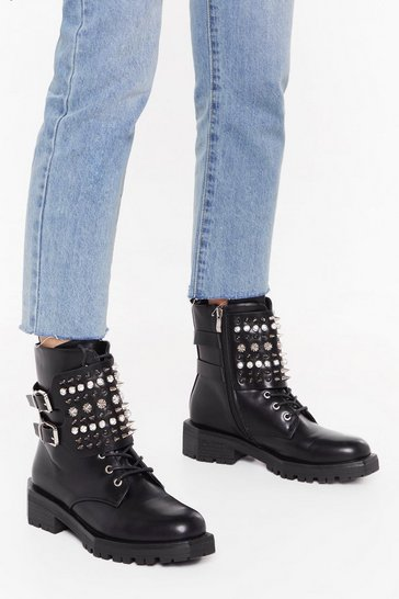 Womens Black Take a Spike Diamante Biker Boots