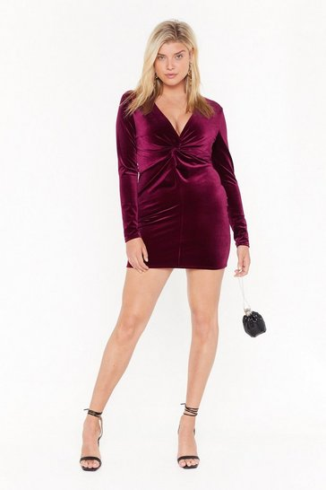 Womens Wine V There Soon Plus Velvet Mini Dress