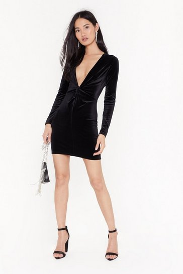Womens Black V There Soon Velvet Mini Dress