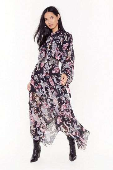 Womens Black Paisley in Tequila Asymmetric Maxi Dress