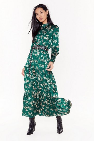 Green Nothing Bud a Goodtime Floral Maxi Dress