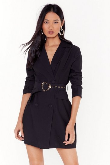 Womens Black All My Heart Belted Blazer Dress