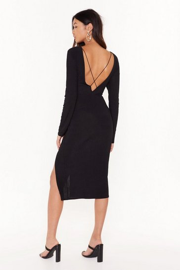 Black Cross for Words Ribbed Mini Dress