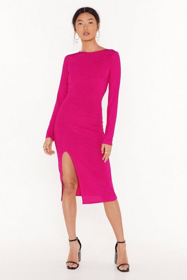Fushia Cross for Words Ribbed Mini Dress