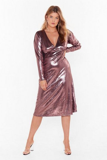 Black Should of Sheen Me Plus Metallic Midi Dress