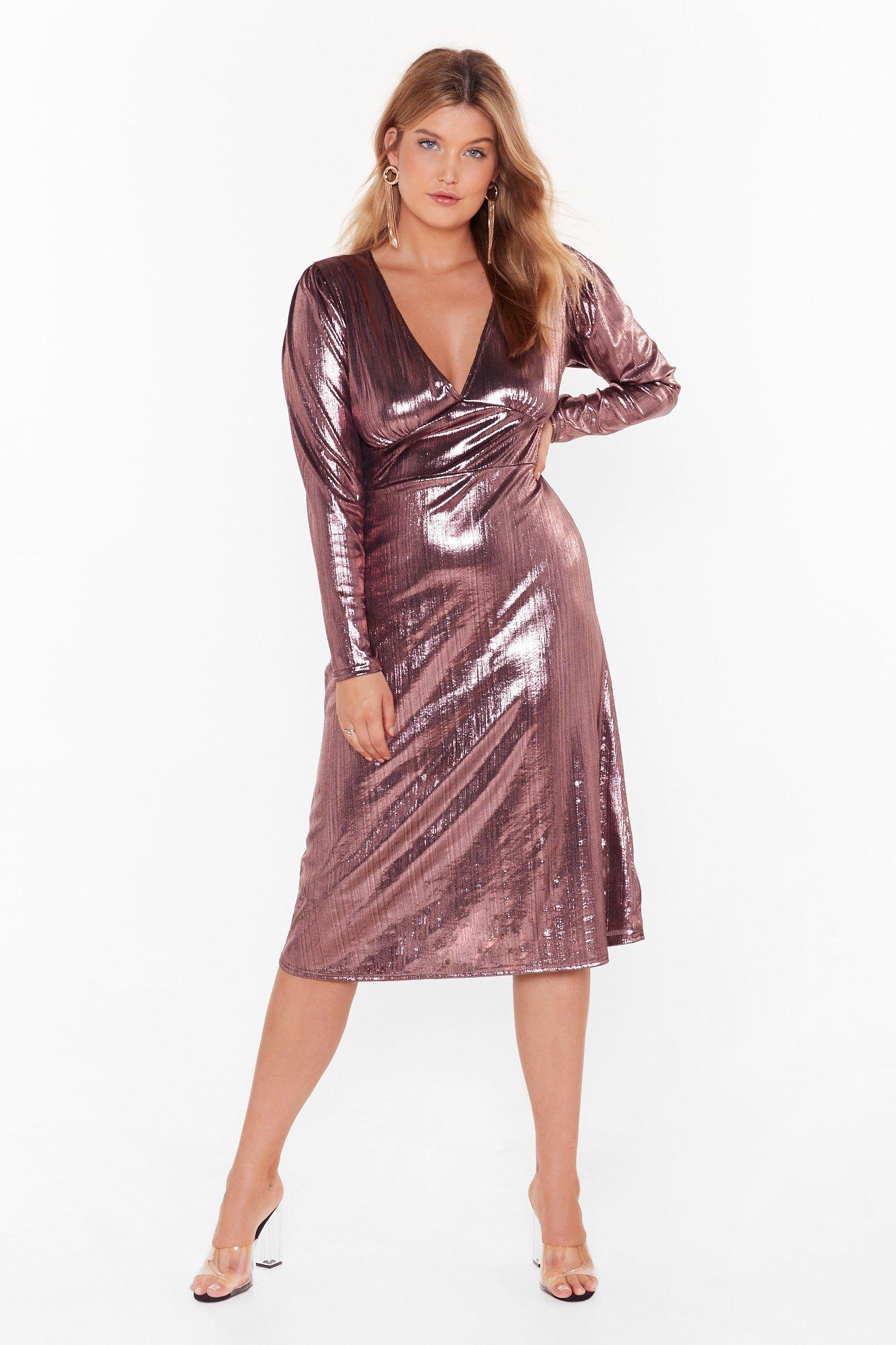 Should of Sheen Me Plus Metallic Midi Dress 7