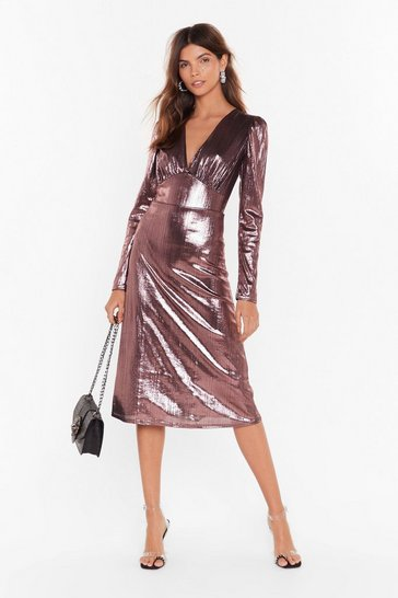 Womens Black Should of Sheen Me Metallic Midi Dress