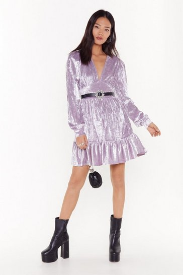Womens Lilac velvet flippy skater dress