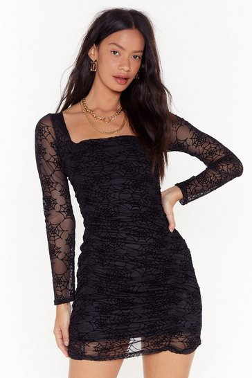 Womens Black cobweb mesh square neck mini dress