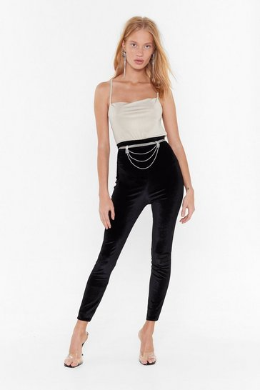 Womens Black Everytime We Touch High-Waisted Velvet Leggings