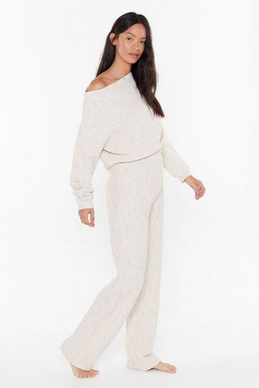 Womens Oatmeal Chill Seeker Slouch Sweater and Pants Lounge Set