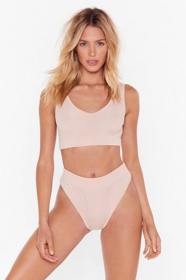 Womens Nude Close Encounters Ribbed Bralette and High-Leg Panty Set