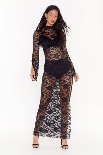 Womens Black Take My Lace High Neck Maxi Dress