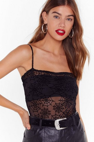 Womens Call Me Black Widow Mesh Bodysuit