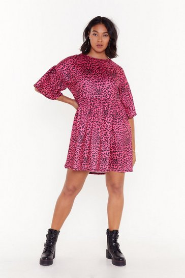 Womens Pink Animal Instincts Plus Leopard Mini Dress