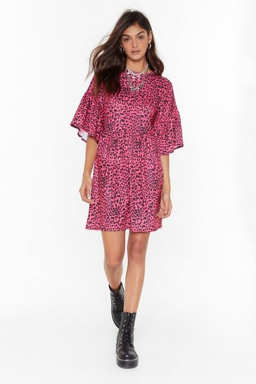 Womens Pink Animal Instincts Leopard Mini Dress