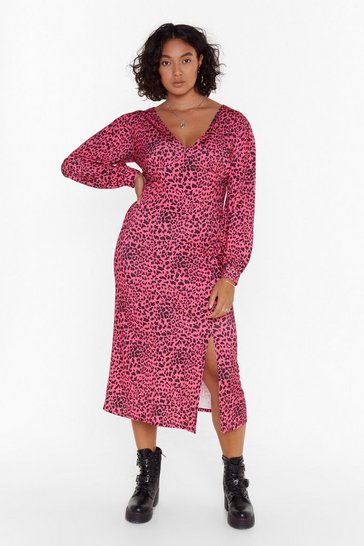 Womens Pink Animal Instincts Plus Leopard Dress