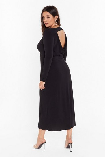 Black Cowl You Back Later Plus Midi Dress
