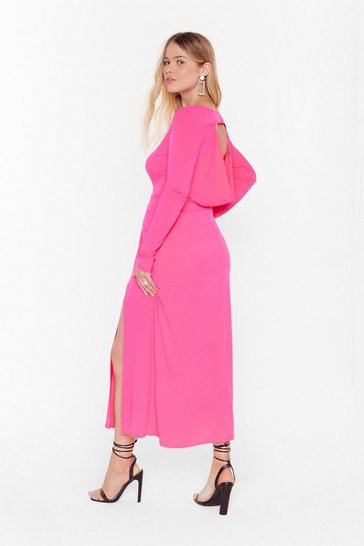 Hot pink Cowl You Back Later Plus Midi Dress