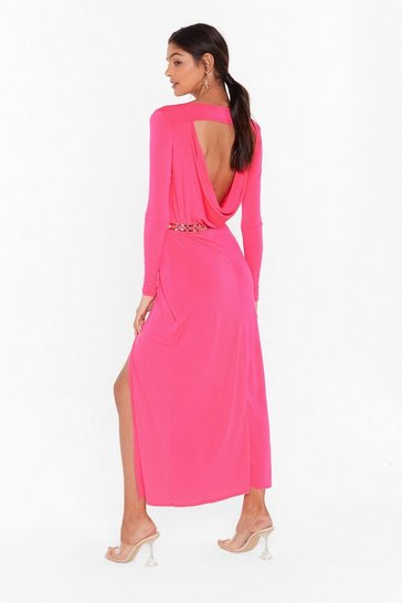 Hot pink Cowl You Back Later Slinky Midi Dress