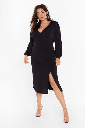 Black You Can Slit With Us Plus Midi Dress