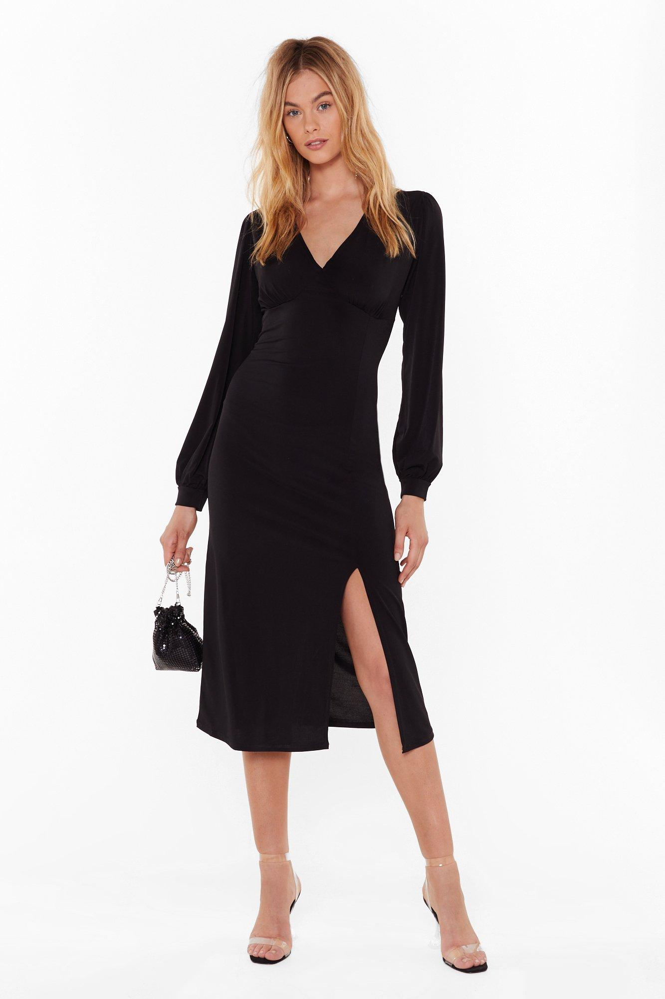 You Can Slit With Us Plunging Midi Dress by Nasty Gal