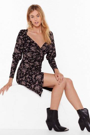 Womens Black Thistle Be a Wild Night Floral Wrap Dress