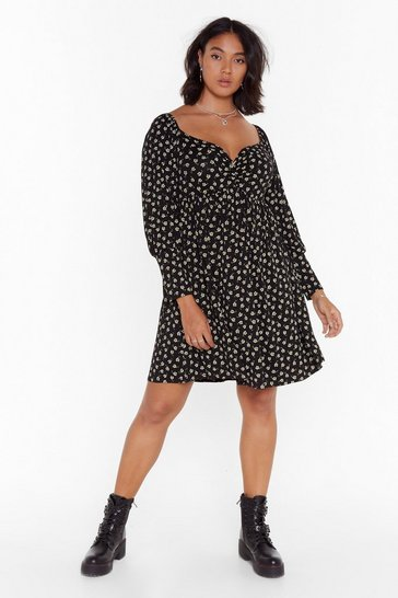 Womens Black You're Growin' Babe Plus Floral Dress