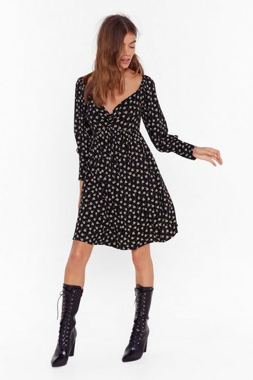 Womens Black ms ditsy floral smock dress