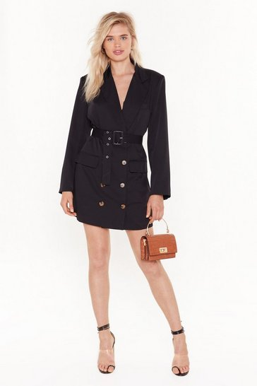 Womens Black We've Got the Power Oversized Blazer Dress