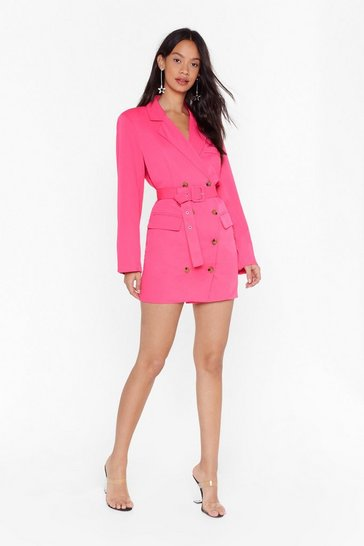 Womens Hot pink We've Got the Power Oversized Blazer Dress