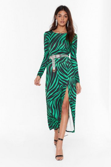 Womens Green Cowl of the Wild Zebra Midi Dress