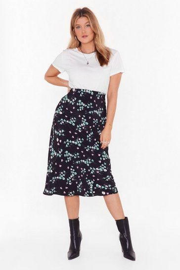Womens Black Bud of Been There Floral Plus Midi Skirt