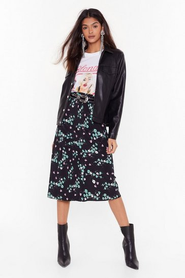 Womens Black Bud of Been There Floral Midi Skirt
