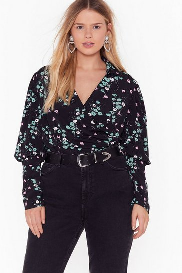 Womens Black Bud of Been There Plus Floral Wrap Blouse