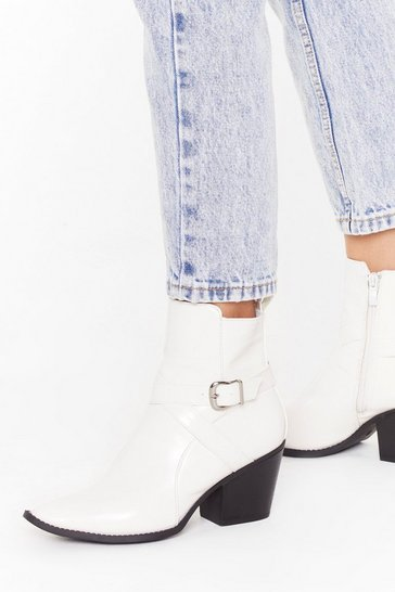 White Don't Buckle Under Pressure Faux Leather Boots