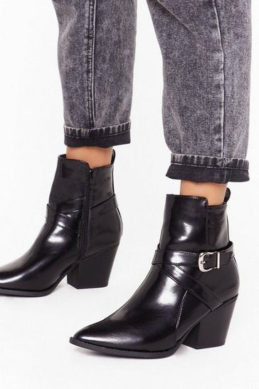 Womens Black Don't Buckle Under Pressure Faux Leather Boots