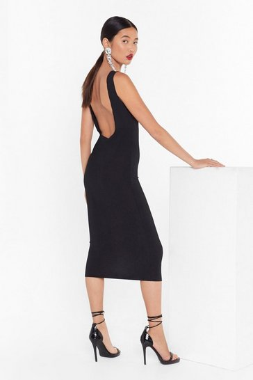 Womens Black What's the Scoop Ribbed Midi Dress