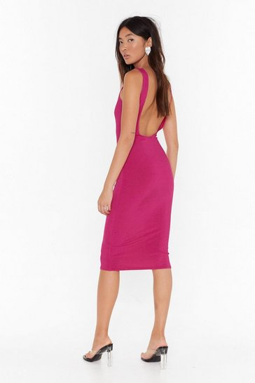 Womens Fushia What's the Scoop Ribbed Midi Dress