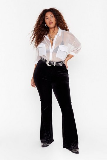Womens Black Kinda Don't Flare Velvet High-Waisted Trousers