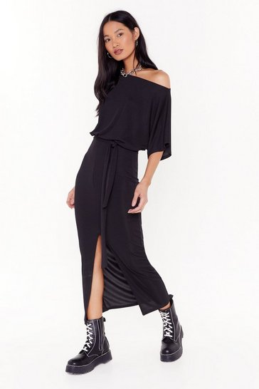 Womens Black Don't Put It Off-the-Shoulder Ribbed Dress