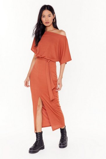Womens Terracotta Don't Put It Off-the-Shoulder Ribbed Dress