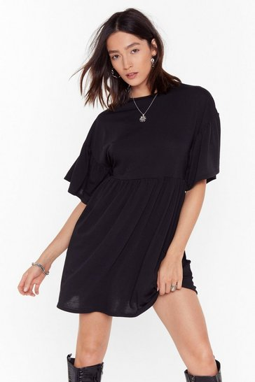 Womens Black Back On Smock Wide Sleeve Mini Dress