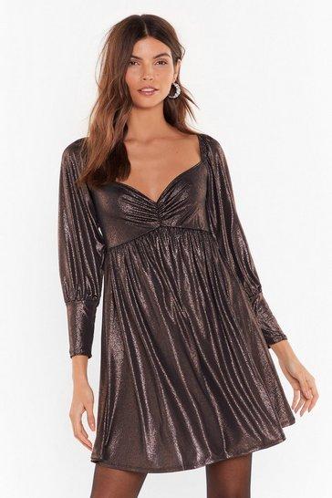 Silver Sheen What I Want Sweetheart Metallic Mini Dress
