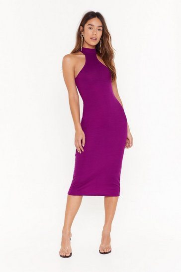 Purple Keep Rib It High Neck Midi Dress