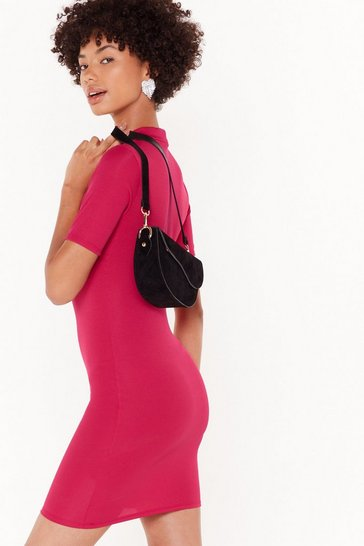 Fushia Round Neckline and Fitted Mini Dress