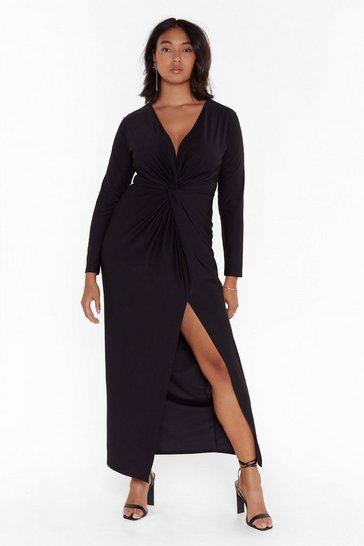 Black Don't Twist the Truth Plus Maxi Dress